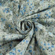 Pima Cotton Lawn - The Garden Of Shakespeare- Grey Grey Fabric, Floral Fabric, Floral Flowers, Grey Blue Dress, Blue Grey, 1950s Fashion Dresses, Vintage Dress Patterns, Different Colors, Colours