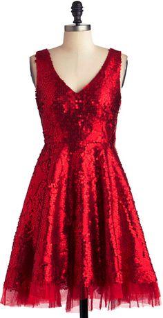 Striking Gold Dress in Red