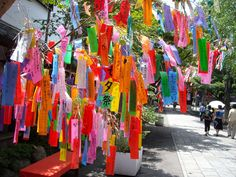 Tanabata Festival, Japan. write a wish on a colorful strip of paper, hang on bamboo