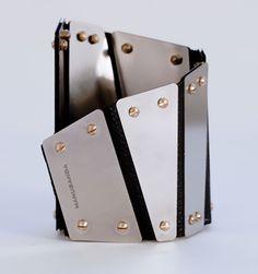 Manuela Gandini  Bracelet: Nastro 2012  Stainless steel, brass, leather