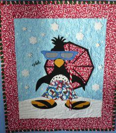 cute #penguin on the #beach #quilt