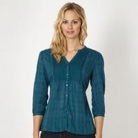 b7775d558ef6 Turquoise embroidered collarless shirt - www.ladies-designer-clothing.co.uk