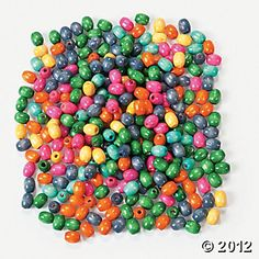 Colorful wooden beads. $6.25 for 500 of them. Nice craft table accessory.