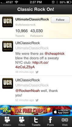 Classic Rock On - Classic rock music news, tweets, Facebook posts, videos, photos, interviews, songs and lists from classic rock artists. The classic rock format evolved from AOR radio stations that were attempting to appeal to an older audience by including familiar songs of the past with current hits. Select top Classic Rock artists upcoming concerts. Tons of information on classic rock music lovers. See social news on the Classic Rock genre including photos.