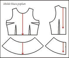 Resultado de imagen para patron de blusa peplum Dress Sewing Patterns, Blouse Patterns, Sewing Patterns Free, Clothing Patterns, Sewing Clothes, Diy Clothes, Simple Outfits, Simple Dresses, Make Your Own Clothes