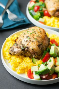 Crispy Baked Chicken Thighs with Garlic Turmeric Rice