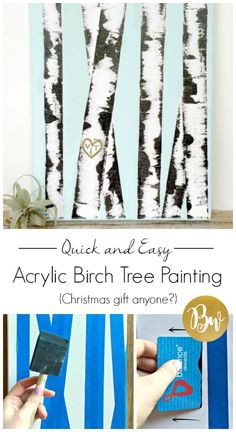 easy acrylic birch tree painting DIY