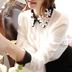 68028 Flora Pearl Collar Button Shirt