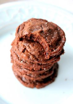 Easy 5-Ingredient Fudgy Nutella Cookies with Sea Salt via ambitiouskitchen.com