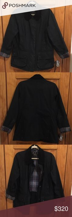 Barbour Beadnell Black Waxed Cotton Jacket Black Barbour beadnell jacket. 1 year old. Still in great condition. Wax has worn off but the coat still looks great. Size 8 (I'm a size 4 and it fits well with sweaters or just regular shirts) Barbour Jackets & Coats
