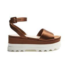 Miu Miu Satin flatform sandals (€560) ❤ liked on Polyvore featuring shoes, sandals, brown, miu miu shoes, white chunky sandals, satin sandals, chunky-heel sandals and miu miu