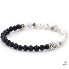 Black and White Beaded Men Bracelet #black #white #bracelet #men #coral