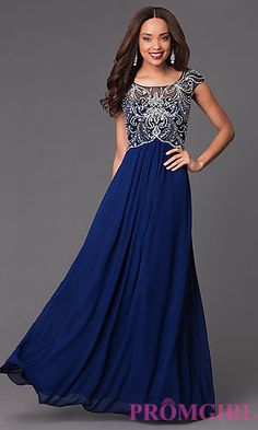 Floor Length Cap Sleeve Dress with Jewel Embellished Bodice at PromGirl.com