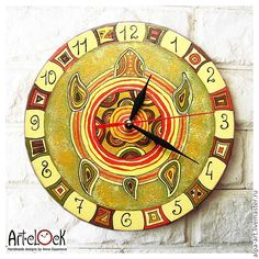 The Yellow Turtle Wall Clock - ArtClock- I want this on my walls! Handmade Wall Clocks, Clock Painting, Clock For Kids, Turtle Jewelry, Tortoises, Handmade Design, Cyber, Favorite Color, Creatures
