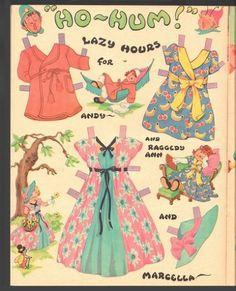 Raggedy Ann and Raggedy Andy Paper Dolls 1957 Uncut Original Book | eBay