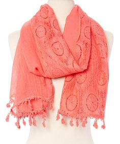 Loving this Coral Lace Linen-Blend Scarf on #zulily! #zulilyfinds