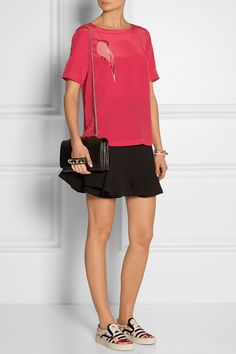 Marc by Marc Jacobs|Bird-print silk crepe de chine top|Victoria Beckham | Fluted silk and wool-blend mini skirt | Mother of Pearl for Jim Lambie printed canvas slip-on sneakers | Valentino | Va Va Voom leather shoulder bag |