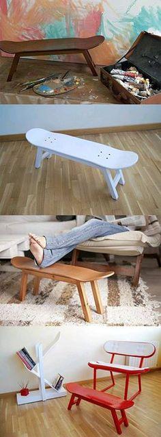 96 Best Surf Repurposing Images Skateboard Furniture