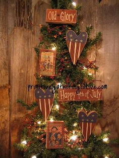 7 Primitive Vintage Americana FLAG Heart  Happy 4th OLD GLORY Sign Ornies on Etsy, $14.99