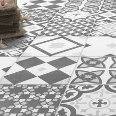 Shop the Vibe Grey Patterned Wall and Floor Tiles – 223 x for a striking Italian style! These patterned tiles are perfect for the floor and wall. Tiled Hallway, Hallway Flooring, Grey Flooring, Flooring Ideas, Floors, Penny Flooring, Grey Hallway, Garage Flooring, Timber Flooring