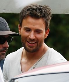 chris evans on the set of gifted - looking a bit chubby cheeked for this role!