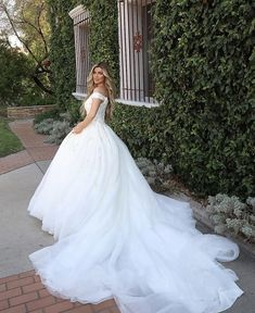 The ultimate princess gown, sparkle and off-the-shoulder straps 👑 Style D3245 by Essense of Australia Wedding Dress Boutiques, Wedding Dresses, Essense Of Australia, Bridal Stores, Gowns Of Elegance, Boutique Dresses, Calgary, Ball Gowns, Bride