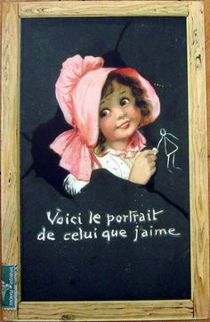 1909 Raphael Tuck Postcard - Girl Drawing on Chalkboard