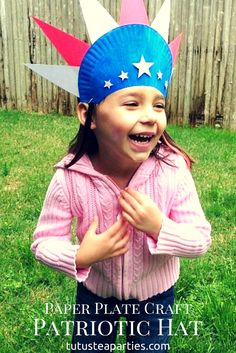 My daughter loves to dress for any occasion. This red, white blue paper plate hat is perfect to craft up for some patriotic holidays!