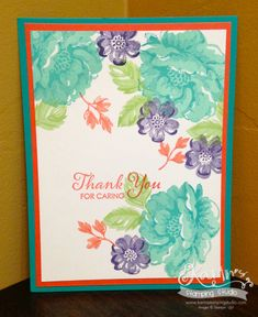 Stampin' Up! Stippled Blossoms; Thank You for Caring SWAP