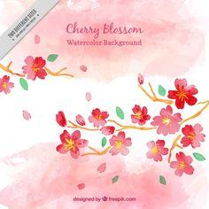 Watercolor Vectors, Photos and PSD files Cherry Blossom Watercolor, Cherry Blossom Background, Watercolor Flowers, Soft Pastel Art, Sakura, Gyeongju, Album Design, Vector Photo, Backgrounds Free