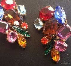 Juliana Vintage Earring Clip Flower Leaf Fruit Salad Rhinestone Cluster! 689