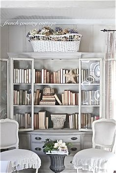 Chalk painted library cupboard