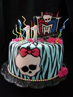 Monster High Cake with candles of varying heights and colors.   #Birthday Cake #Cakes for Tweens