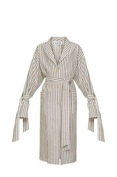 LOEWE Stripe Duster Coat Grey/White