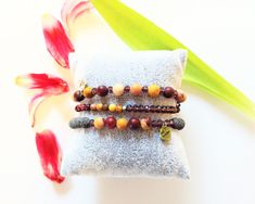 Yoga Armband, Doterra, Lava, Meditation, Orange, Stone Bracelet, Rhinestones, Beads, Etsy Jewelry