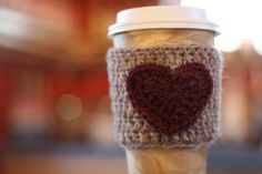 Crochet Coffee Cozy Heart Sleeve