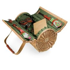 Verona Deluxe Wine & Cheese Basket - Pine Green w/Nouveau Grape. The exquisitely handcrafted Verona picnic basket was designed for those who love to picnic on a casual level. The Verona is a two-lid willow basket with deluxe wine and cheese service for two. It is lined with PE (polyethylene) for durability and has premium leatherette accents and canvas carry straps.