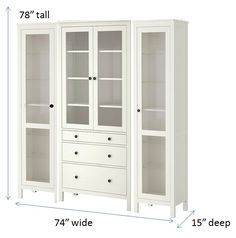 Using several Ikea Hemnes cabinets, I'm hoping to hack this into a built in looking china cabinet. Some trip and new hardware should do the trick nicely and give the dining room a true focal point.