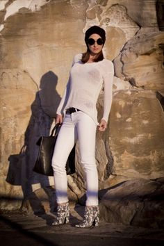 White on white outfit -  with a some black, i.e. beloved Phillip Lim bag and Karen Walker sunglasses.