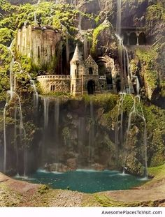 waterfall castle the enchanted wood Poland