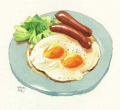 Picture of Osaki illustrator Yoshiyuki Food Sketch, Watercolor Food, Food Painting, Food Icons, Food Drawing, Kitchen Art, Food Illustrations, Cute Food, Food Design