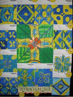 Interdisciplinary Art/Spanish Tile wall: Could also double as a multicultural lesson. Cooperative project on a large scale.