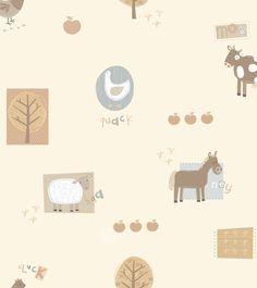 Hoopla boerderij dieren behang beige