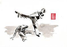 Illustration : Capoeira – 803 [ #capoeira #watercolor #illustration] aquarelle sur papier 300gr / watercolor on paper 300gr 21  x 29.7 cm / 8 x 11.6 in