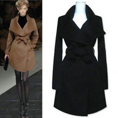Cheap Fashion Turndown Collar Long Sleeves Black Long Wool Coat_Wool&Blends_Outerwear&Coats_Womens Clothing_Cheap Clothes,Cheap Shoes Online,Wholesale Shoes,Clothing On lovelywholesale.com - LovelyWholesale.com