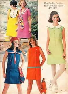 Random Goodness - Spring Dresses and Such! 1960s Fashion Women, Teen Fashion, Fashion Models, Vintage Fashion, Fashion Outfits, Club Fashion, Vintage Style, 1960s Dresses, Vintage 1950s Dresses