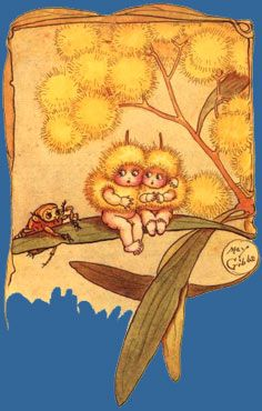 Wattle Babies {Cecilia May Gibbs} Childhood Images, Children's Book Illustration, Book Illustrations, Vintage Children's Books, Woodland Creatures, Aboriginal Art, Australian Artists, Fairy Land, Pretty Pictures