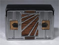 Notable for its highly stylish chrome-plated cabinet, this seldomfound Imperial radio has the original brown and rust-colored grille cloth and chunky bakelite volume and tuning knobs.