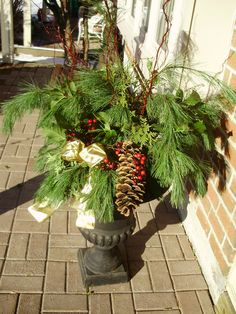 winter urn with bow