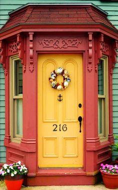 Lunenburg, Nova Scotia, Canada / view beautiful custom door hardware handcrafted by master artisans > balticacustomhard. Cool Doors, Unique Doors, Entrance Doors, Doorway, Yellow Doors, House Front Door, Knobs And Knockers, Door Gate, Painted Doors